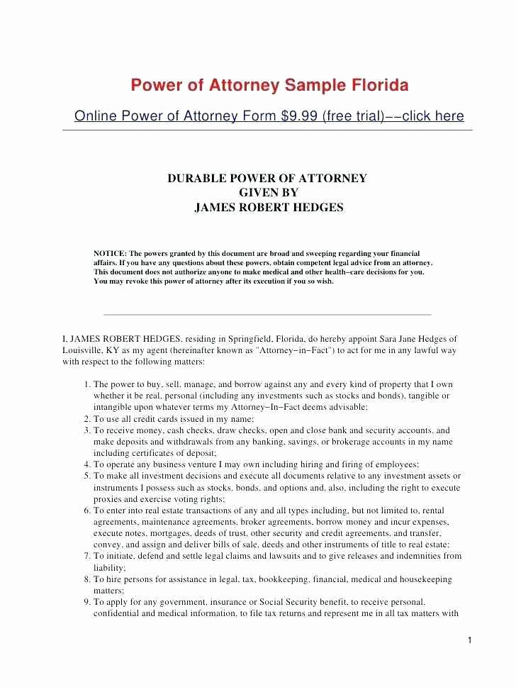 Durable Power Of Attorney Form Florida Lovely Dmv Power Attorney Form Florida