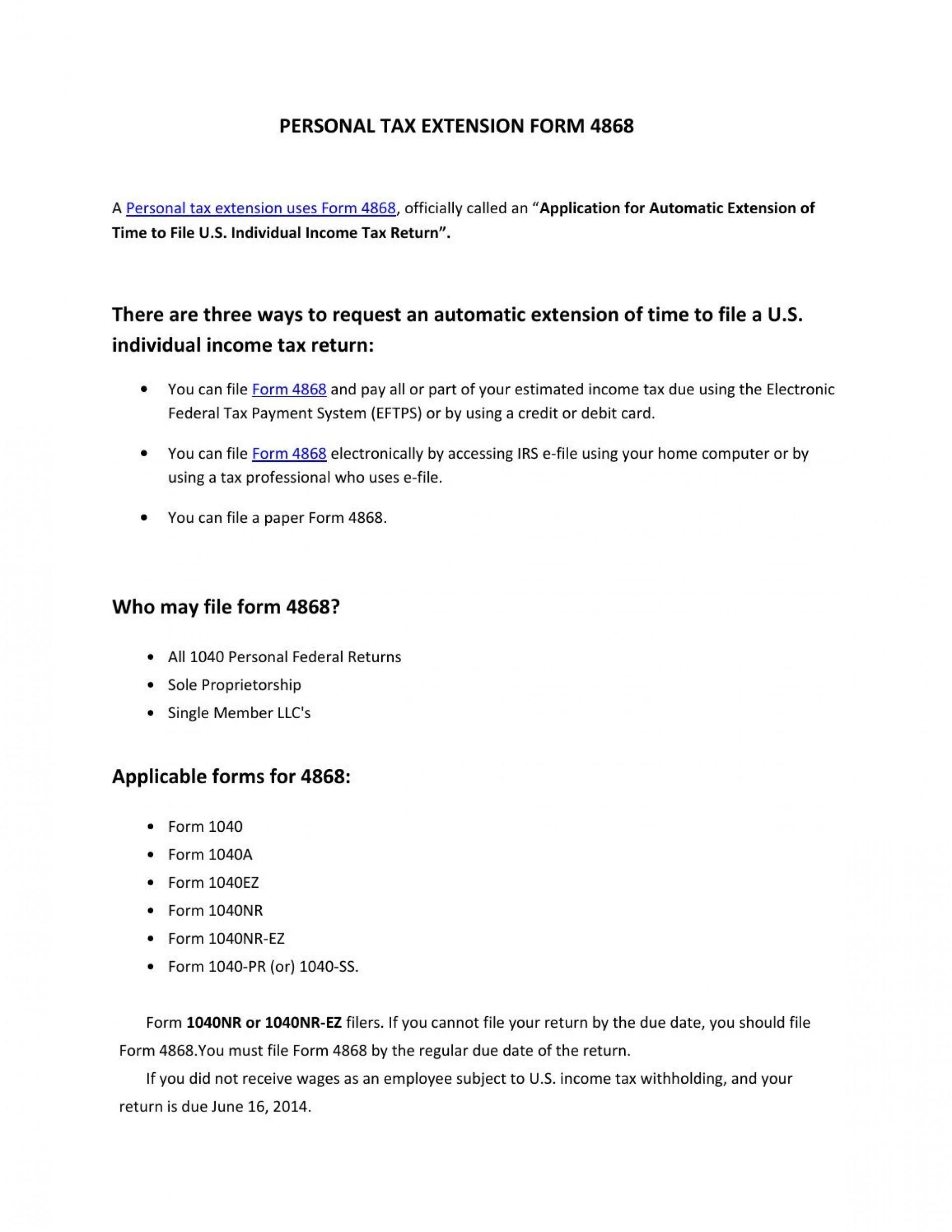 E File Form 4868 Online Free