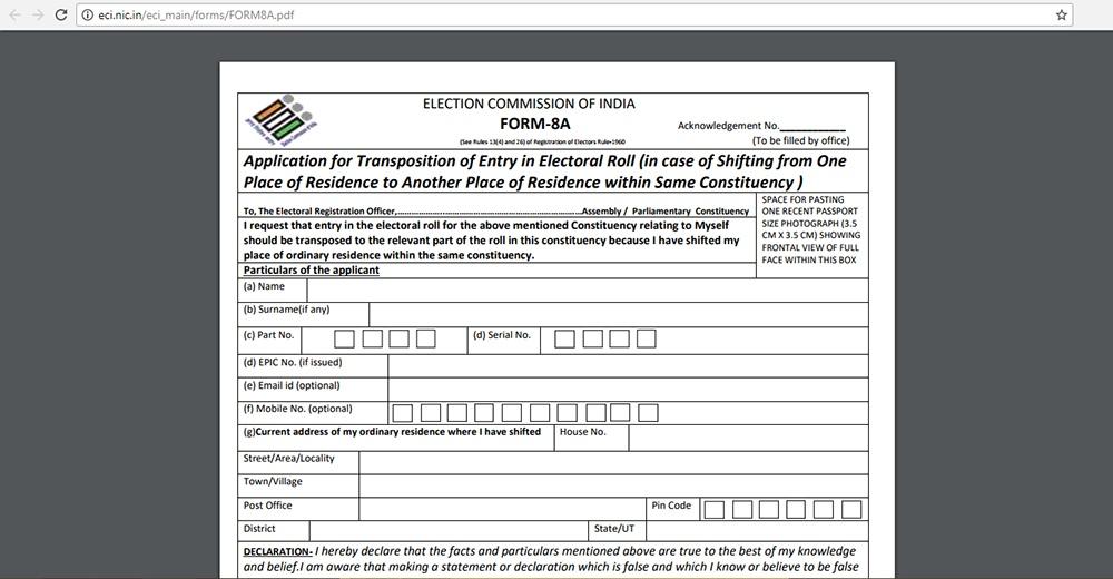Eci Application Form Download